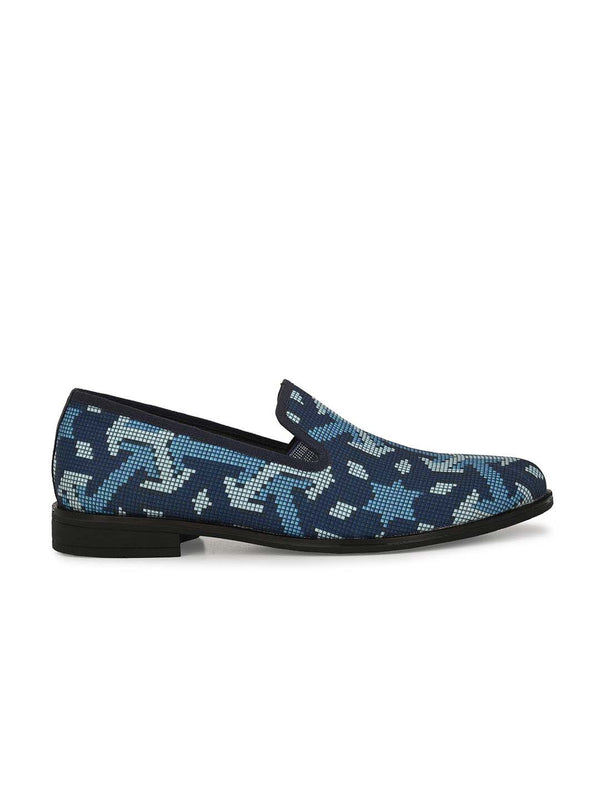 Blue Metallic Printed Outdoor Shoes