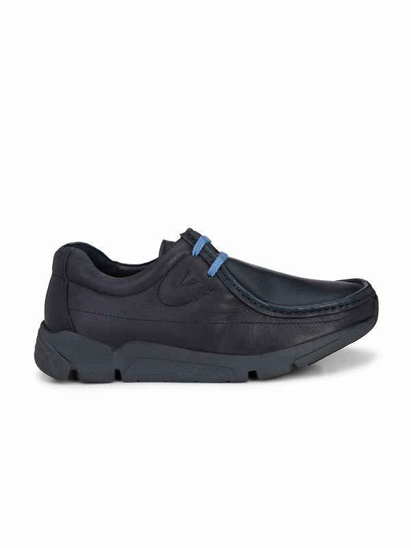 Hitz Men Blue Leather Casual Shoes