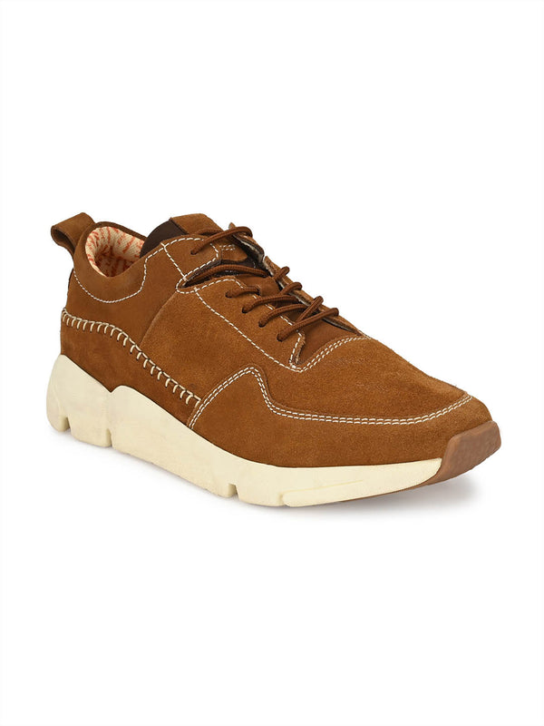 Men Tan Suede Lace-up Casual Shoes