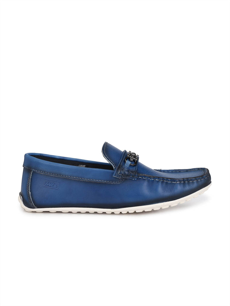 Mens Blue Leather Slip-on Loafers