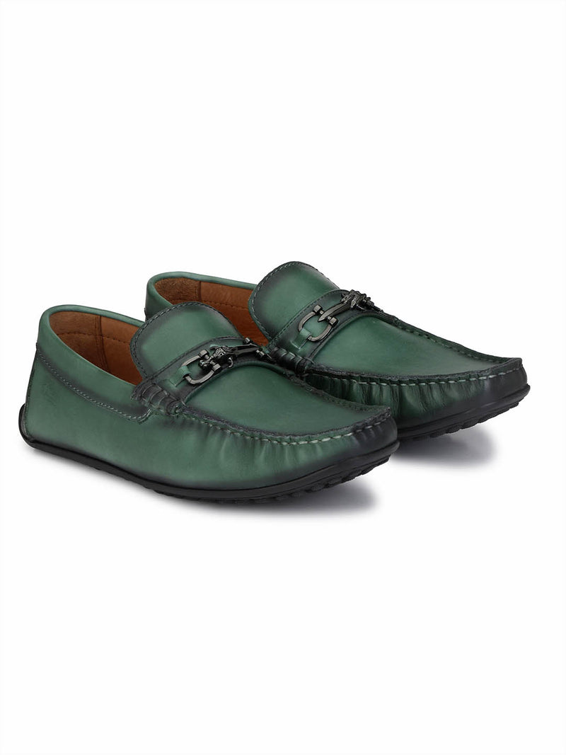 Flipy - F 10 Green Leather Loafers