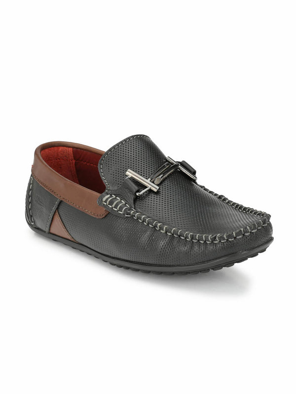 Flipy - F 13 Black + Brown Leather Loafers