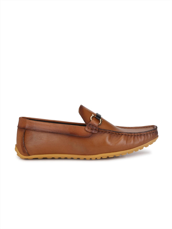 Hitz Men Tan Leather Slip-on shoes