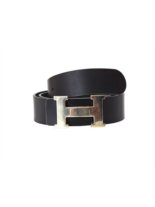 H-Buckle Black Leather Belts