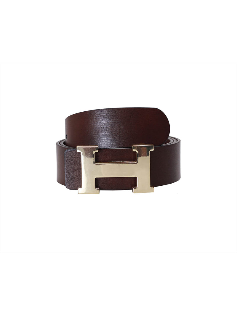 H-Buckle Brown Leather Belts