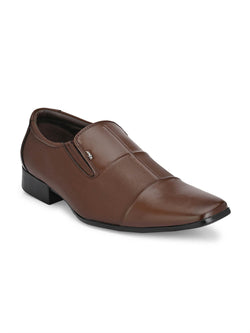 Hitz Vegan Brown Formal Slip-On Shoes Men