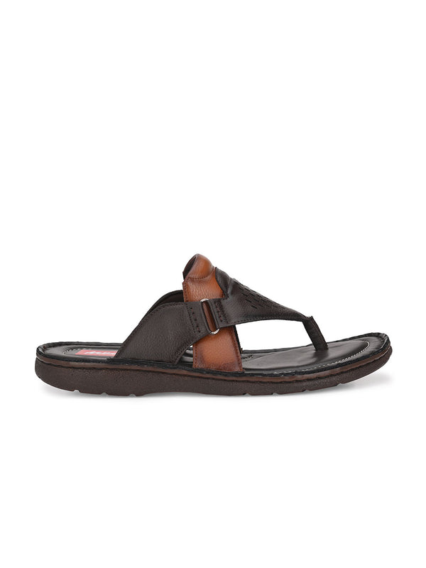 Hitz Kumoto Brn+Tan Slippers For Men