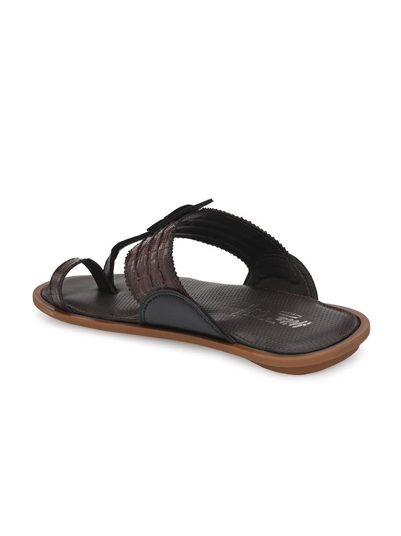Hitz Kumoto Brn+Blk Slippers For Men