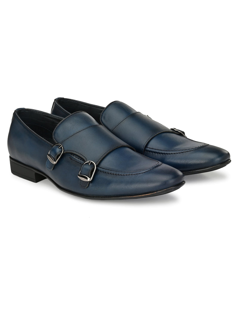 HITZ Blue Leather Double-Strap Monk Formal Shoes