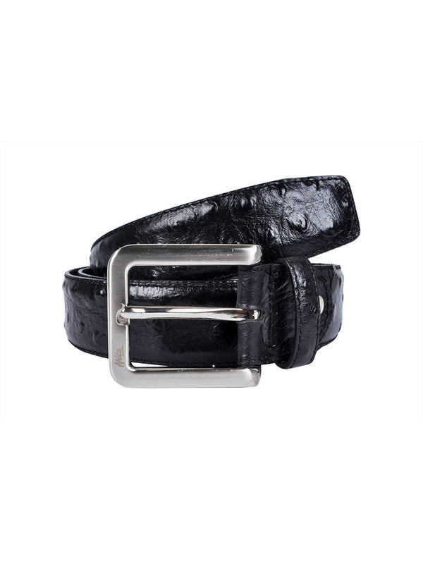 Ostrich Black Leather Belts