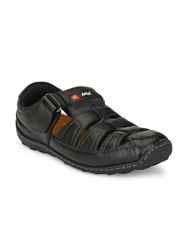 HITZ Black Fisherman Black Leather Sandals