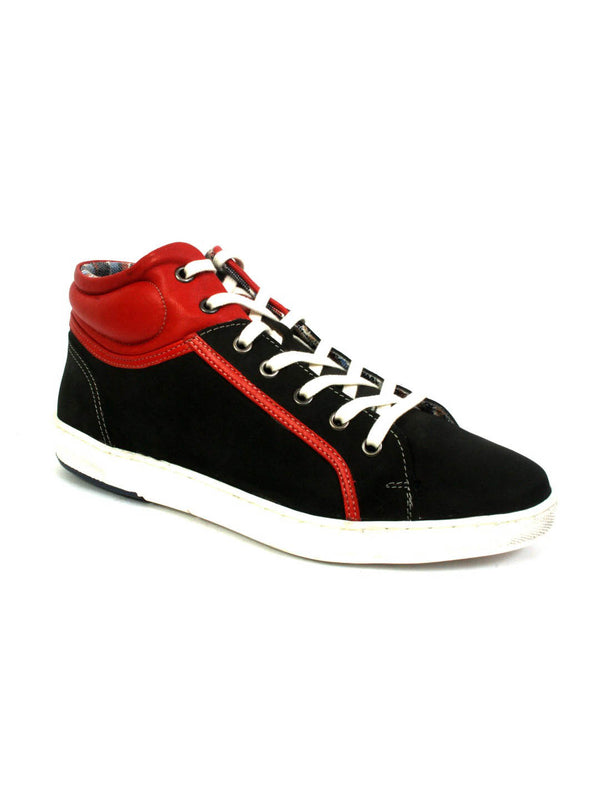 Sneakers - Sn 5 Black + Red Leather Shoes