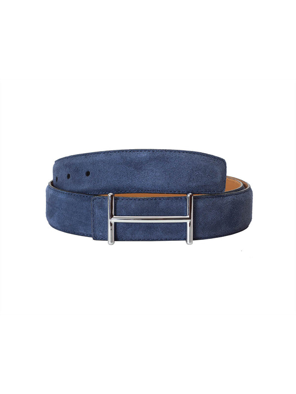 Suede Blue Leather Belts