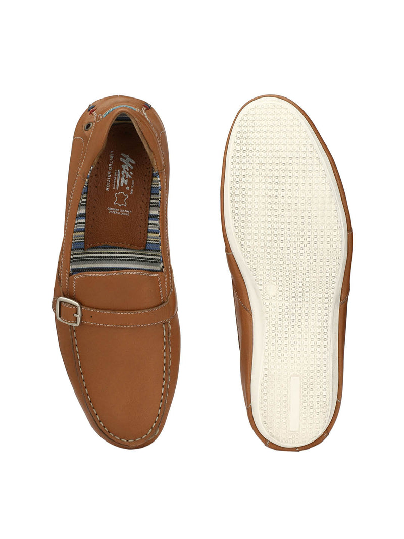 Men Tan Leather Driving Loafers