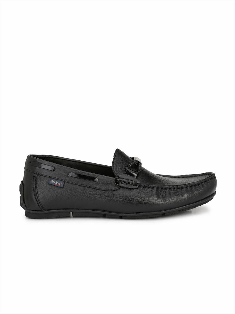 Men's Black Leather Smart Comfort Loafers