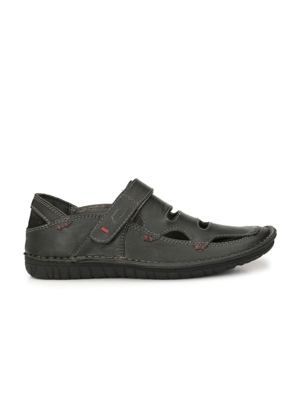 Astrix - X 1 Black Leather Sandals