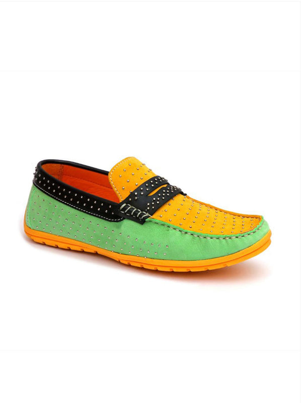 Colorblock Studded Loafers Hitz Men