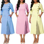 Load image into Gallery viewer, Fashion Plus Size Party Autumn Women Dresses Geometric Patchwork 3/4 Sleeve Midi Dress Round Neck Dress Women