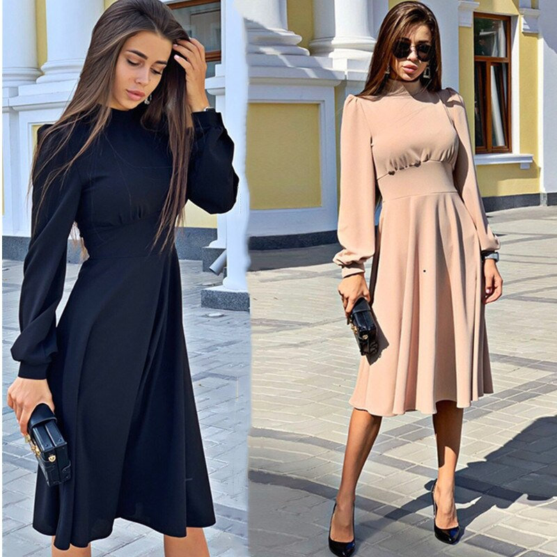 Fashion Turtleneck Princess Dress Women Vintage Solid Long Sleeve Knee A-line Dresses 2020 Vestidos Elegant Evening Party Dress