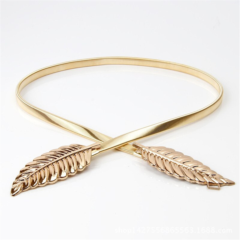 New Fashionable Women Metal Leaves Elastic Waist Dress Belt Strap Waistband Promotion Sale BL02-A