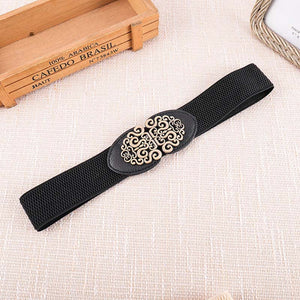 PU Leather Elastic Female Belt Stretch Wide Women Royal Buckle Waist Belt Black Dress Coat Plus Size Cummerband ceinture femme