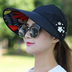 Load image into Gallery viewer, Summer Sun Hats for Women ladies visors Solid Color Wide Brim Beads Flower Decor Sun Hat Visors Outdoor Sports Cap