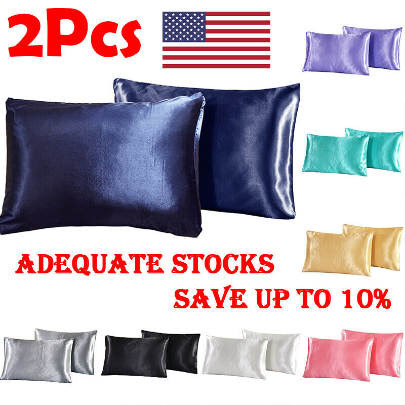 2× Soft Mulberry Simulation Silk Pillow Case Solid Color Pillowcase Cover Chair Seat Decor