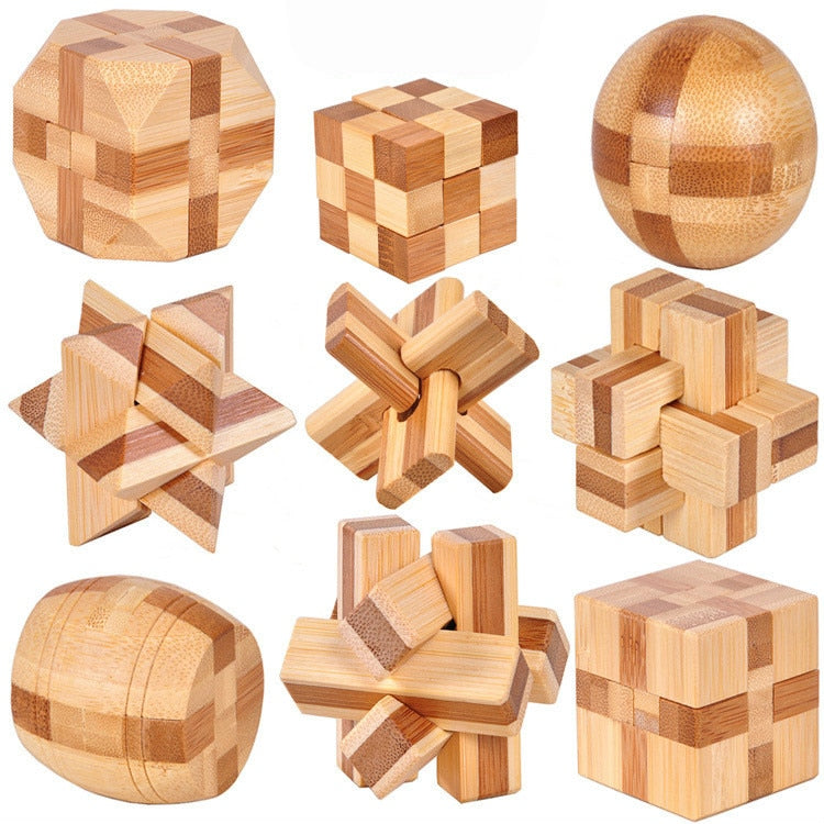New Design IQ Brain Teaser Kong Ming Lock 3D Wooden Interlocking Burr Puzzles Game Toy Bamboo Small Size For Adults Kids