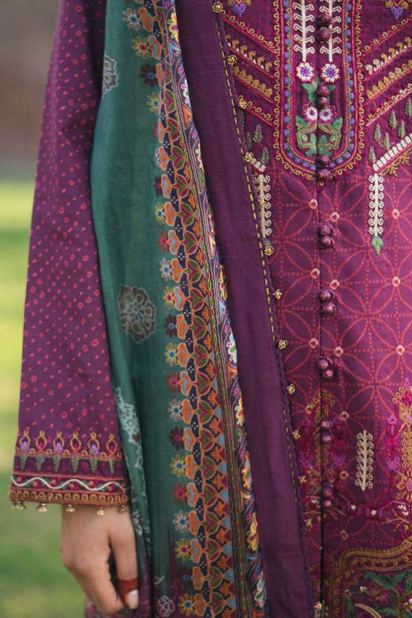 Zara Shahjahan Luxury Lawn Embroidered Unstitched 3 Piece Suit Collection ZSJ20-Gul Badan-A