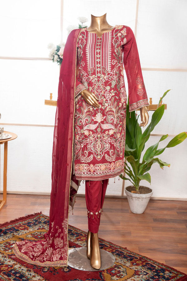 Royal Fashion Supreme Swiss Voile Embroidered Unstitched 3 Piece Suit Collection RFS21-404