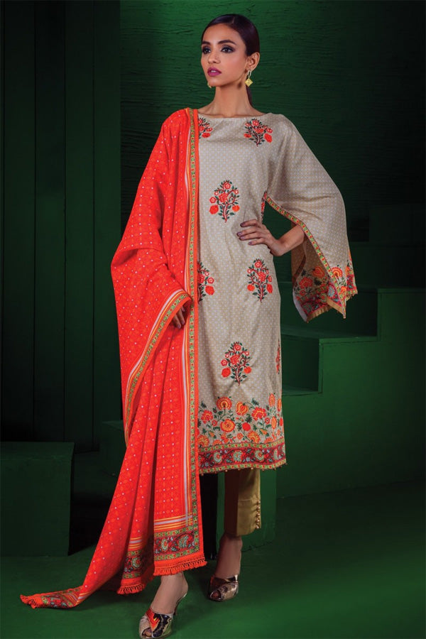 Orient Winter Embroidered Unstitched 3 Piece Suit collection OWC19-176-A