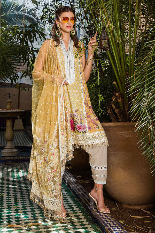 Sobia Nazir Luxury Lawn Embroidered Unstitched 3 Piece Suit Collection SNL20-13A