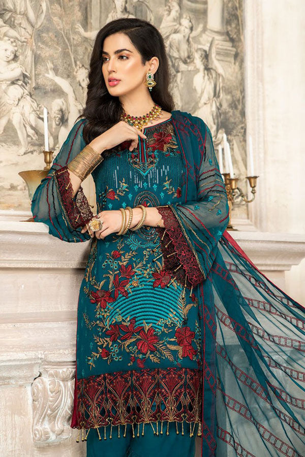 Maryam's Chiffon Premium Vol:6 Embroidered Unstitched 3 Piece Suit Collection MCC20-164
