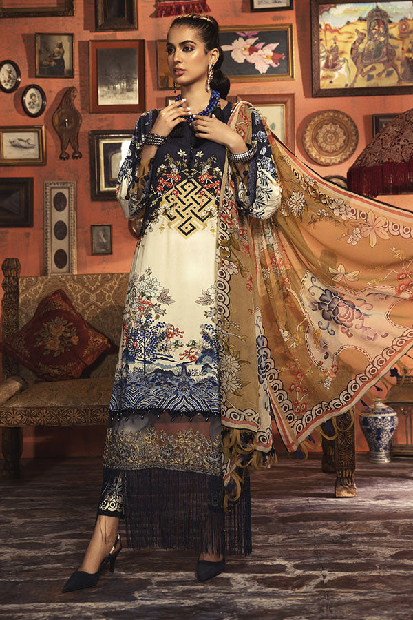 Maria.b M.print Winter Embroidered Unstitched 3 Piece Suit Collection MWC20-1B