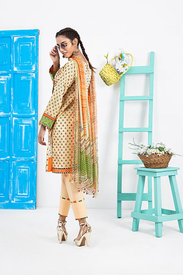 LSM Lakhany Komal Printed Lawn Embroidered Unstitched 3 Piece Suit Collection LKC20-2019