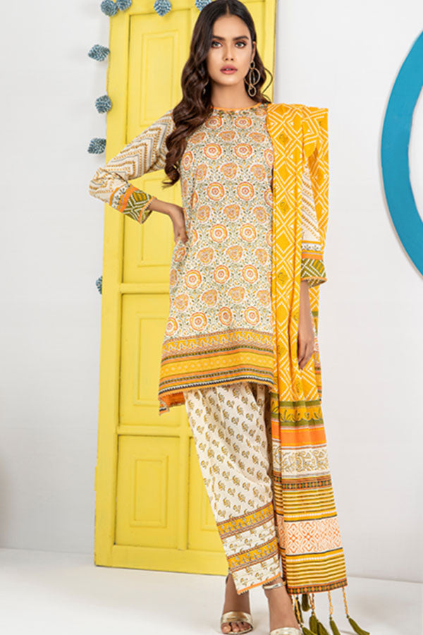 LSM Lakhany Komal Printed Lawn Embroidered Unstitched 3 Piece Suit Collection LKC20-2021