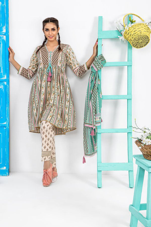 LSM Lakhany Komal Printed Lawn Embroidered Unstitched 3 Piece Suit Collection LEC20-2038