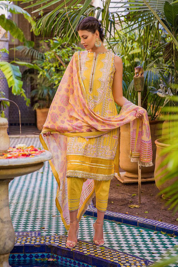 Sobia Nazir Luxury Lawn Embroidered Unstitched 3 Piece Suit Collection SNL20-2A