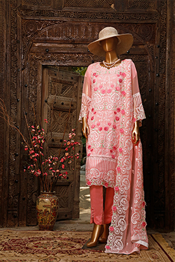 Urban Queen Premium Chiffon Embroidered Unstitched 3 Piece Suit Collection UQP19-02