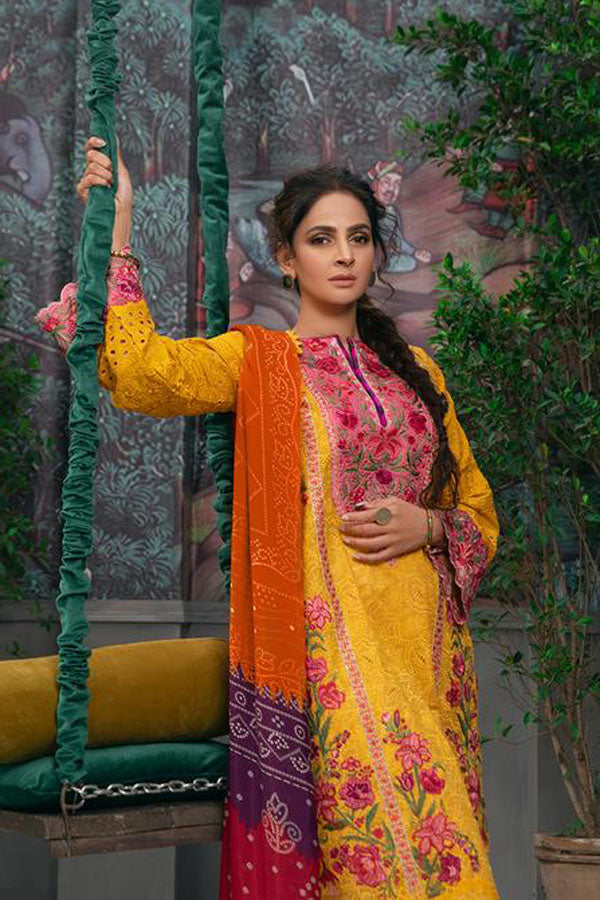 Maryam Hussain Eid Lawn Embroidered Unstitched 3 Piece Suit collection MEC21-10 Kesar
