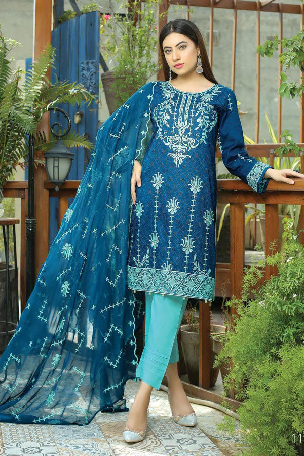 Glamza Chikankari Lawn Embroidered Unstitched 3 Piece Suit Collection GCL21-203