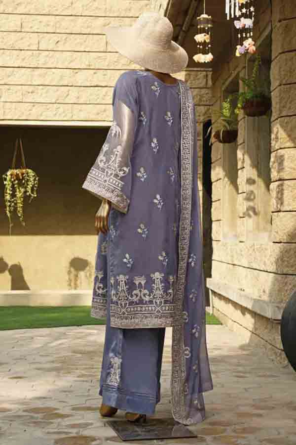 Urban Queen Premium Chiffon Embroidered Unstitched 3 Piece Suit Collection UQP19-04