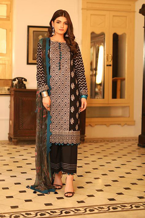 LSM Lakhany Meraki Festive Embroidered Unstitched 3 Piece Suit Collection LMC20-5013