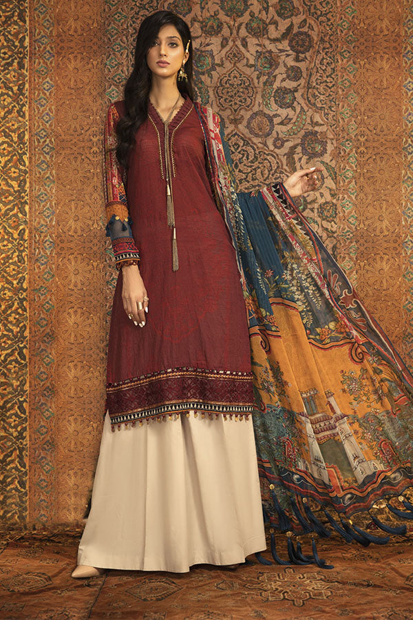 Maria.b M.print Winter Embroidered Unstitched 3 Piece Suit Collection MWC20-6B