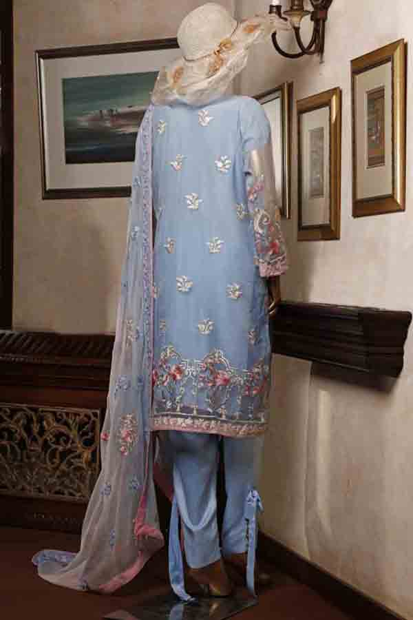 Urban Queen Premium Chiffon Embroidered Unstitched 3 Piece Suit Collection UQP19-07