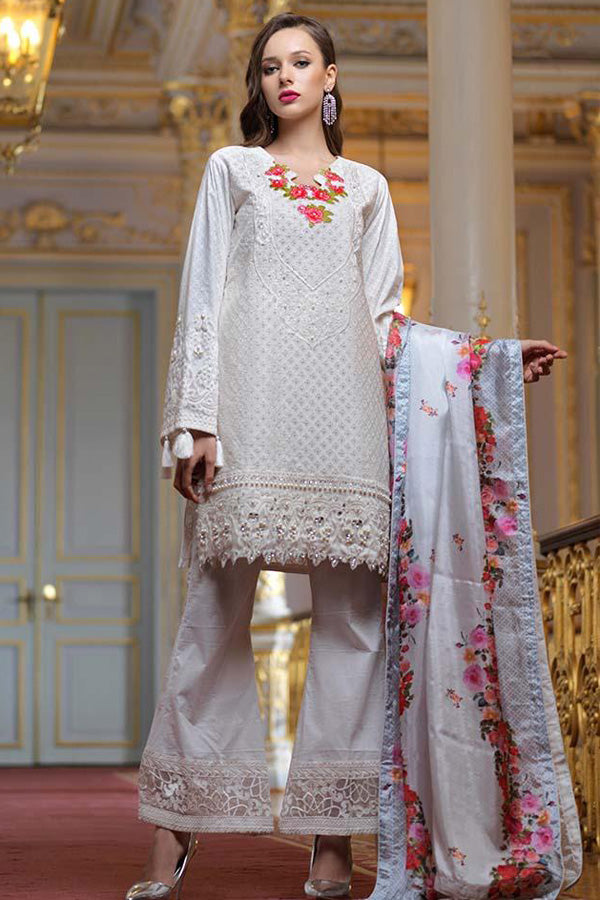 Alzohaib Mahiymaan Eid Luxury Embroidered Unstitched 3 Piece Suit Collection AZM19-07