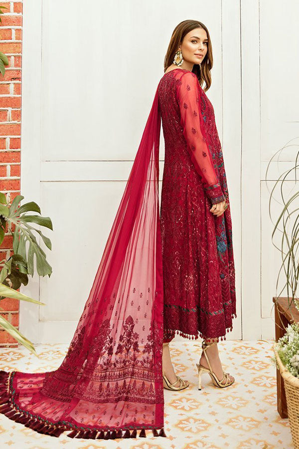 Afrozeh La Fleur Luxury Chiffon Embroidered Unstitched 3 Piece Suit Collection ACC20-09