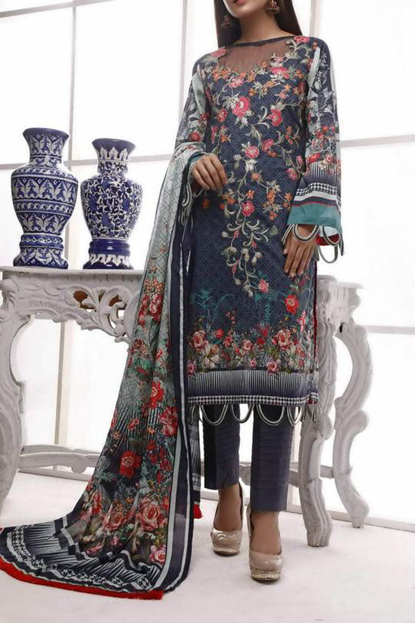 VS Shakar Digital Lawn Embroidered Unstitched 3 Piece Suit Collection SLC20-09