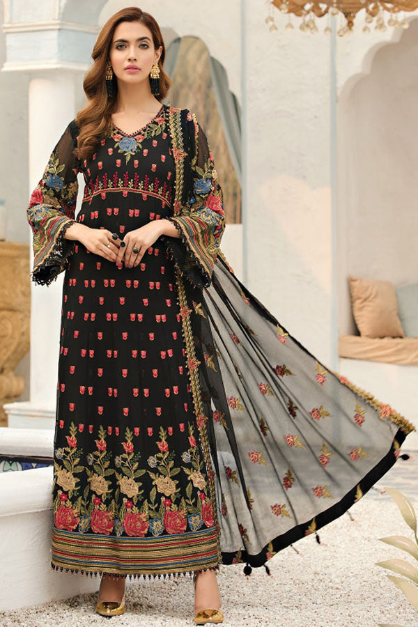 Alizeh Fashion Chiffon Embroidered Unstitched 3 Piece Suit Collection AFC21-12-CLASSIC BLACK