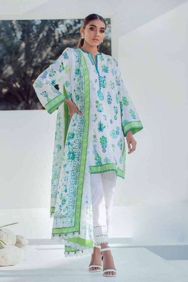 Alkaram Spring Summer Lawn Embroidered Unstitched 3 Piece Suit collection ASL21-22.1-WHITE